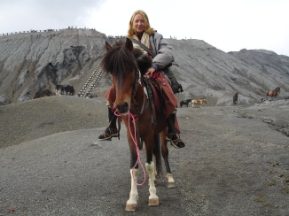 I rode on horseback to the rim of Mount Bromo, it was bitterly cold and I had to wear all the clothes out of my backpack
