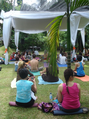 yoga in the lawn pavillion